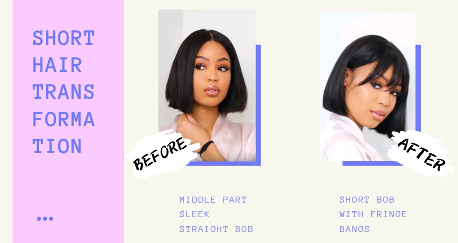 Summer Bob Hairstyles Transformation – From Center Part Sleek Bob to Pretty Fringe Bangs