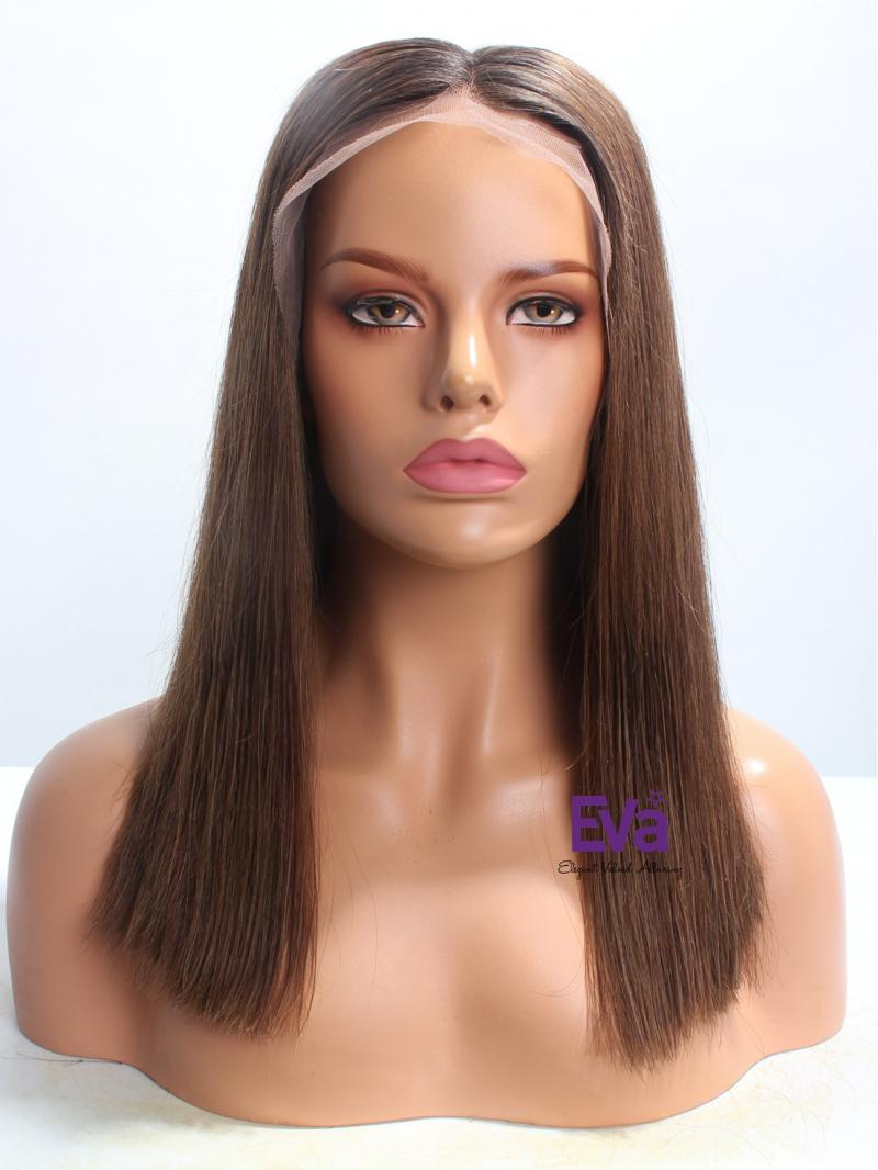 "16"" Silky Straight Bob Custom Hair Color Lace Front Wig"