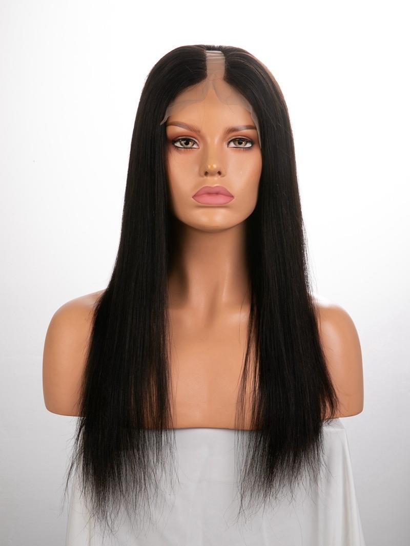"18"" 100% Natural Black Yaki Straight Human Hair Full Lace U-Part Wig"