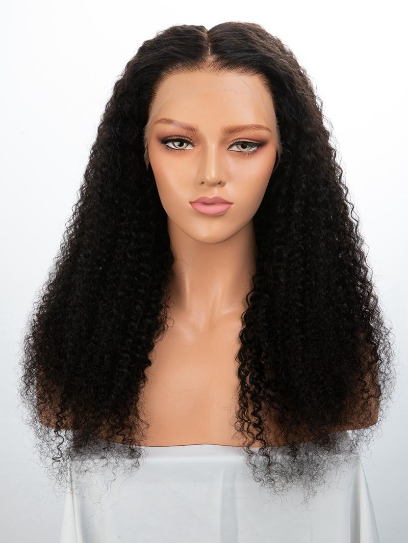 "20"" 180% Natural Black Deep Curly HD Lace Virgin Human Hair 6"" Lace Front Wig"