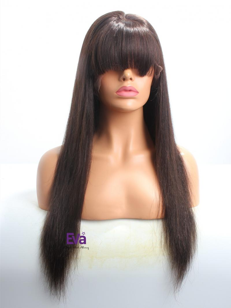 """Stocked 20"""" Long Straight Darkest Brown Full Lace Wig"""