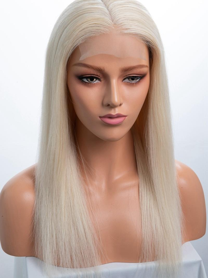 "CUSTOMIZED CAPSIZE 16"" PALE BLONDE SILKY STRAIGHT FULL LACE WIG WITH 4.5*4.5 SILK TOP"