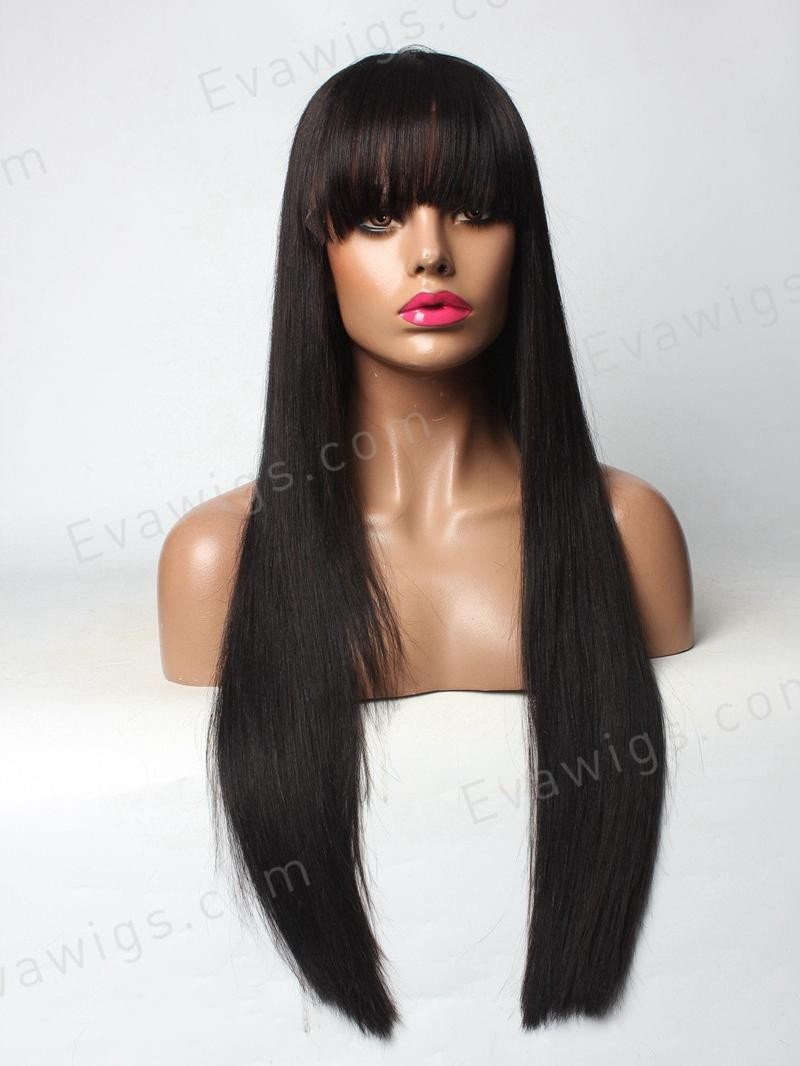 "20"" MEDIUM DARK BROWN SILKY STRAIGHT FULL LACE PETITE SIZE WIG WITH BANGS"