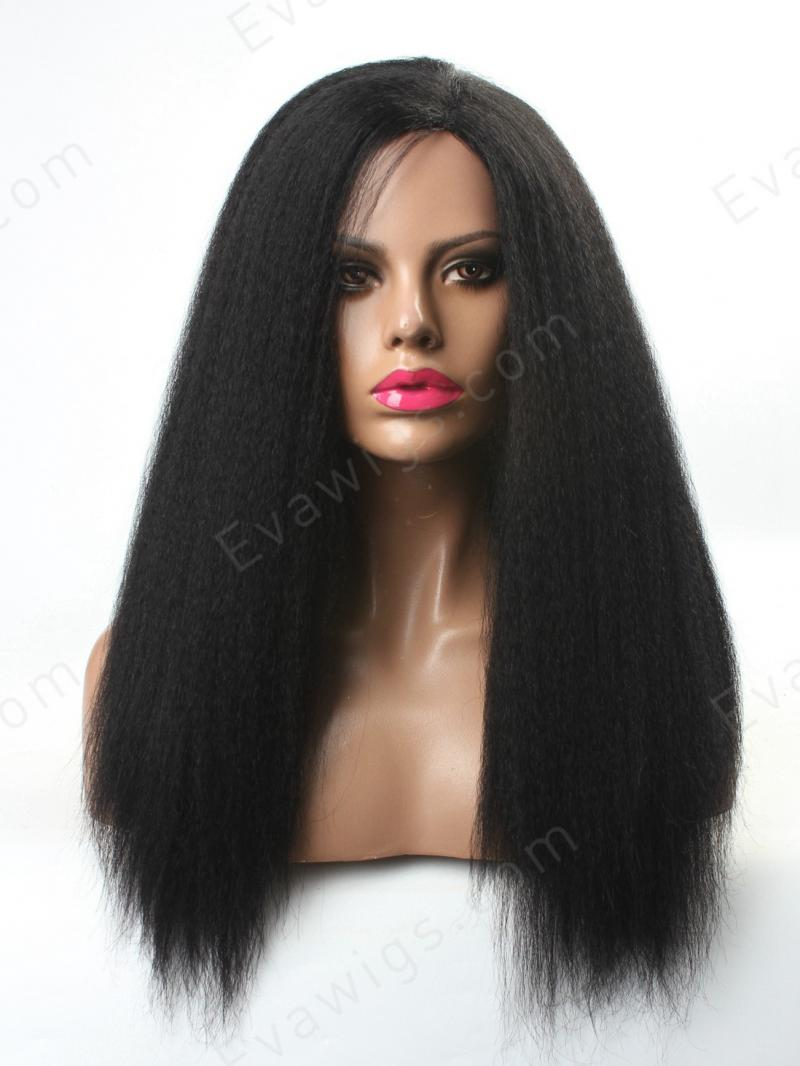 Machine Made Glueless Lace Cap Italian Yaki Human Hair Wig
