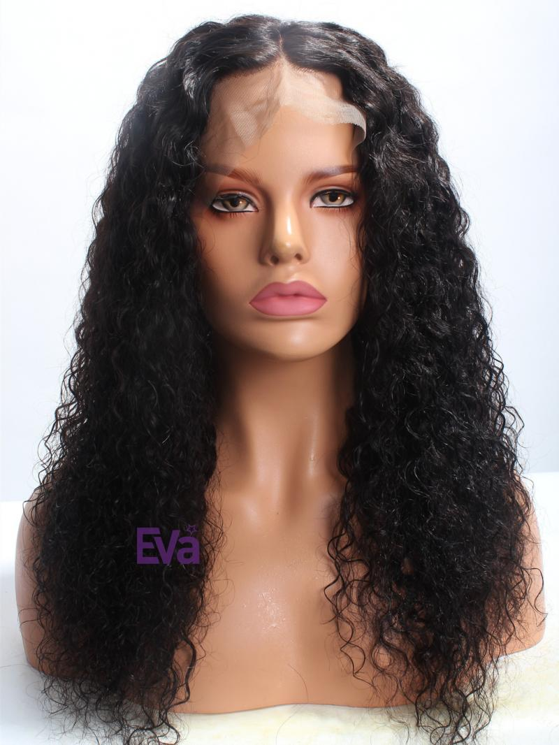 "20"" Black Curly 4"" Lace Parting Indian Remy Hair Lace Front Wig"