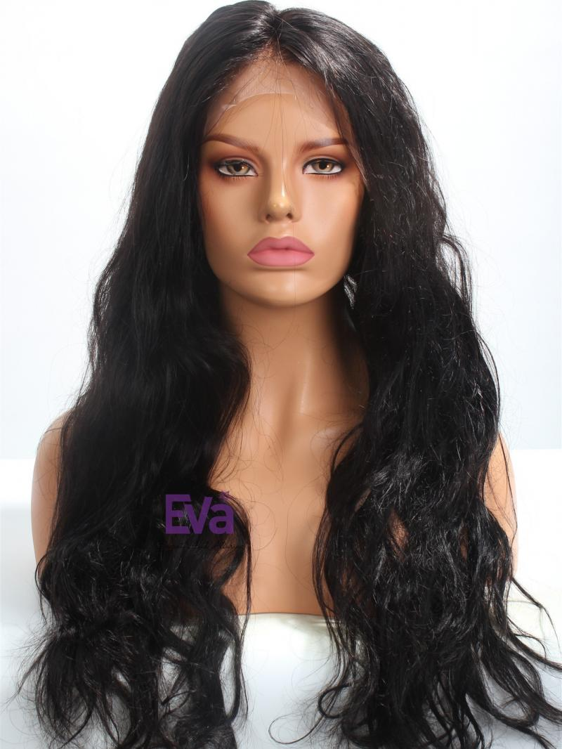 "22"" Long Silky Wavy Indian Remy Hair Full Lace Wig"