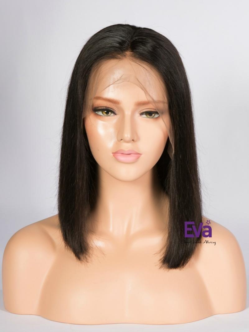 """14"""" 150% Natural Black Silky Straight Summer Bob Human Hair 4"""" Lace Front Wig"""