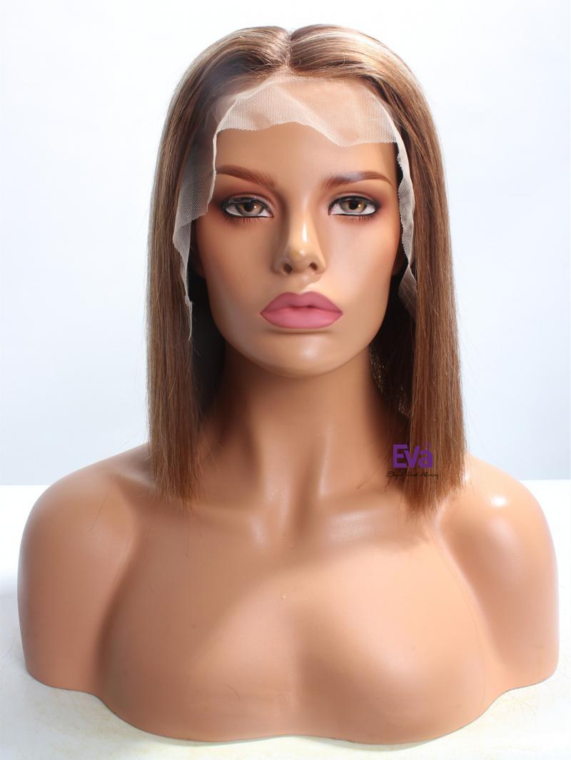 "12"" Straight Bob Custom Color Virgin Hair Lace Front Wig"