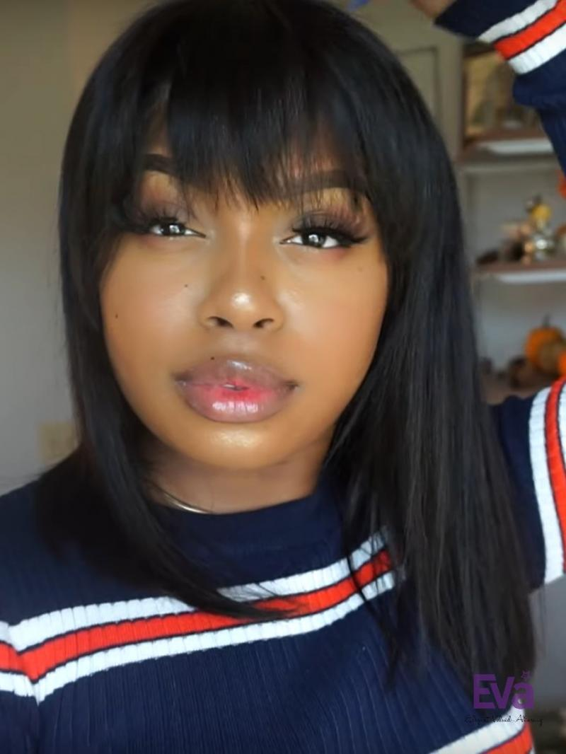 "6"" Deep Parting Lace Front Bob Wig with Bangs"