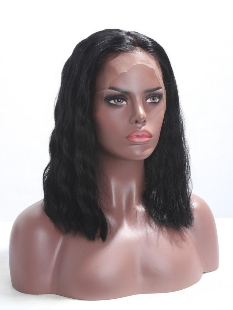 "Ready to Ship 4"" Lace Parting 14inch 150% Hair Density Human Hair Jet Black Wavy Bob Wig"