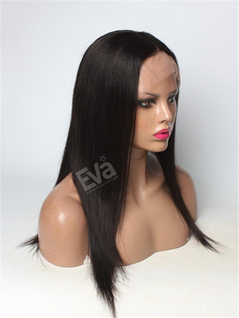 Silk Straight Natural Black full lace Human Hair Wig