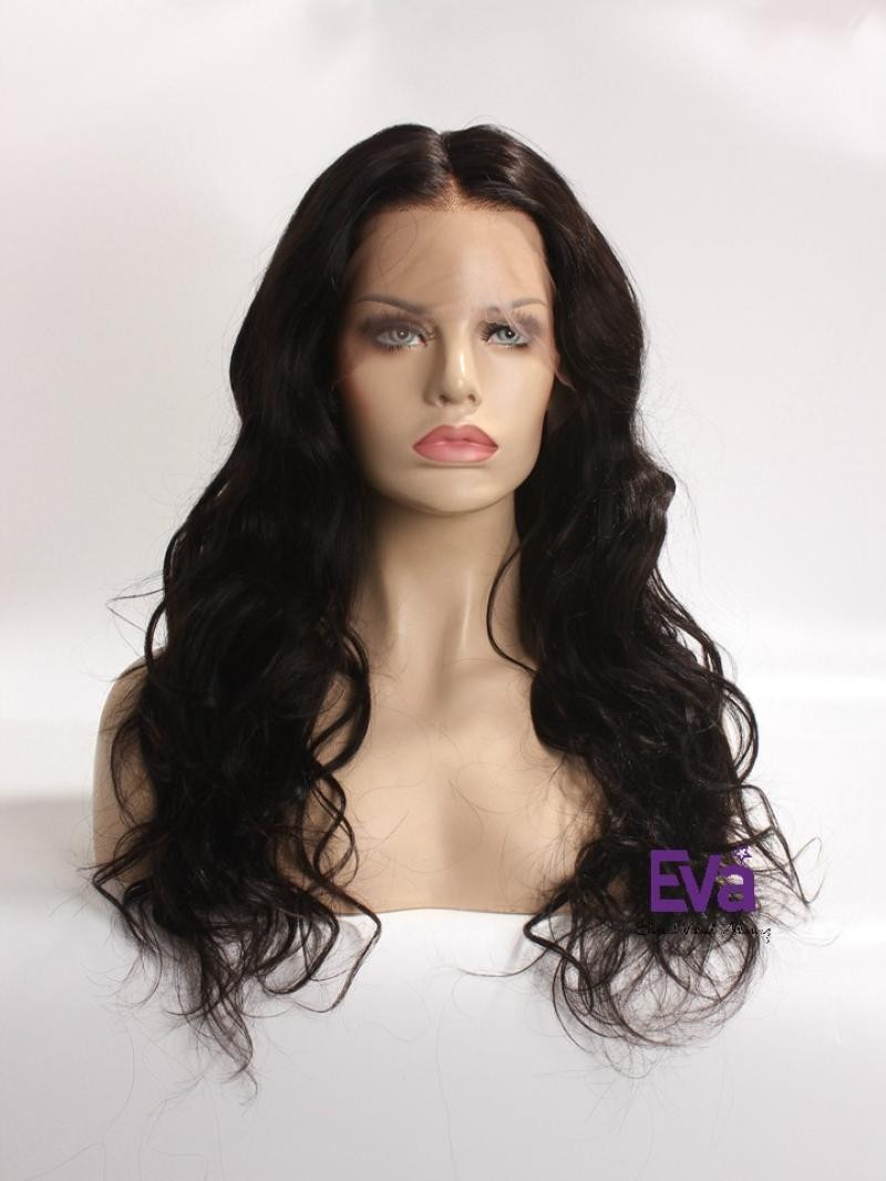 """18"""" 130% Natural Black Body Wave Human Hair 4"""" Lace Front Wig With Petite Size"""