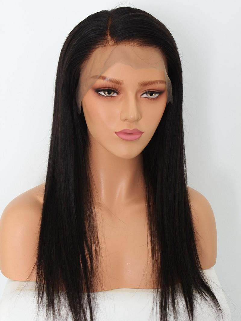 "18"" Silky/Yaki Straight 4"" Parting Bleached Knots Glueless Lace Front Wig"