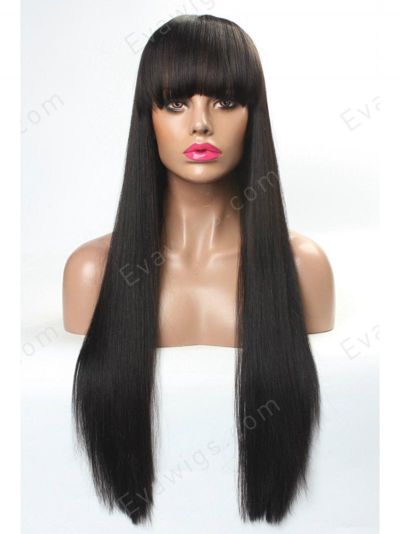 "20"" SILKY STRAIGHT FULL LACE SILK TOP WITH SEE THROUGH BANGS"