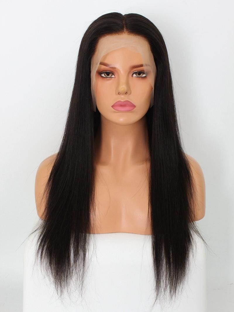 """22"""" 180% Natural Black Yaki Straight Human Hair 6"""" Lace Front Wig With Fake Scalp"""