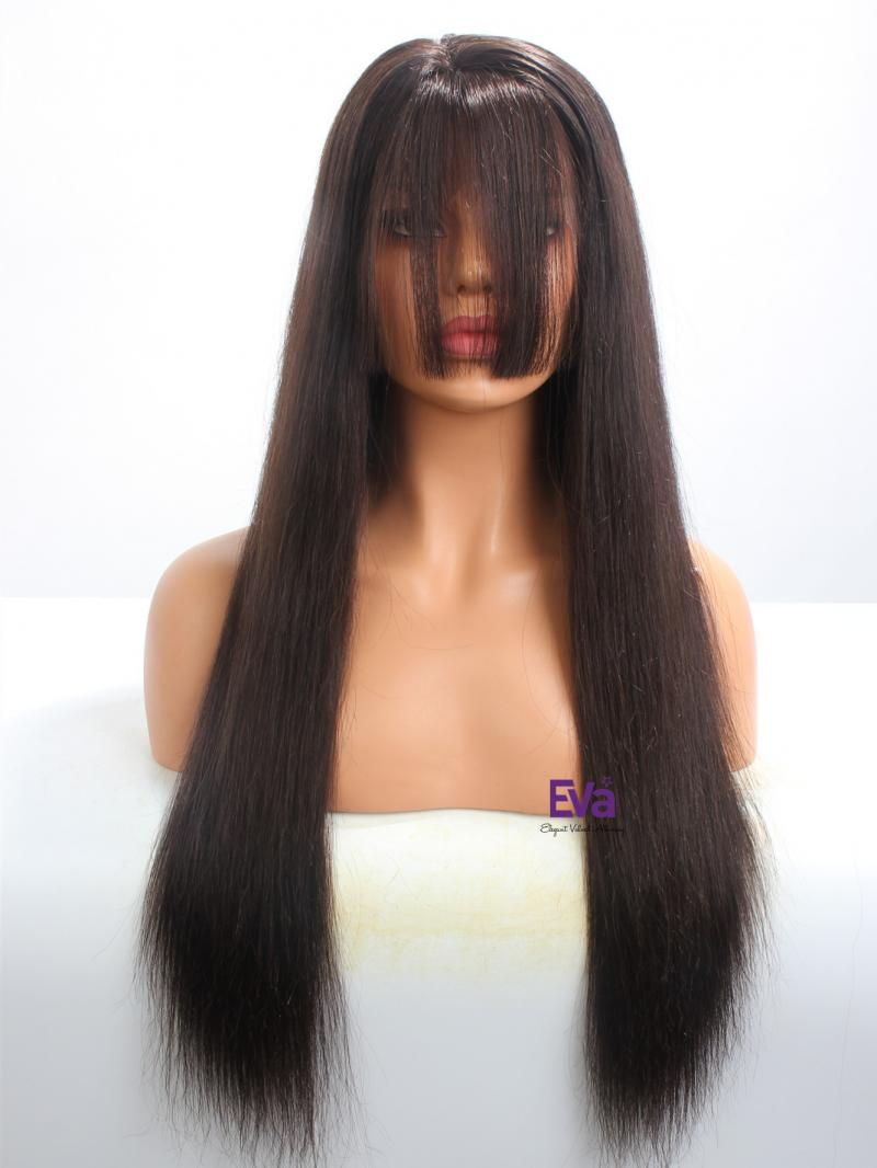 Hot Seller Darkest Brown Long Straight Lace Front Wig With Bangs