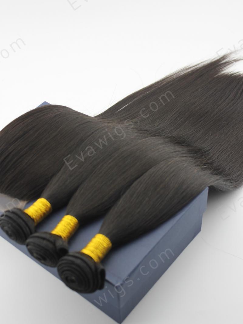 3 Bundles Silky Straight Brazilian Virgin Human Hair Weave with Hair Closure
