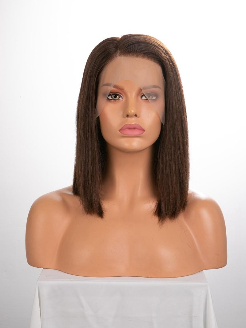 "12"" 150% Medium Dark Brown Silky Straight Human Hair Full Lace Wig With Petite Size"