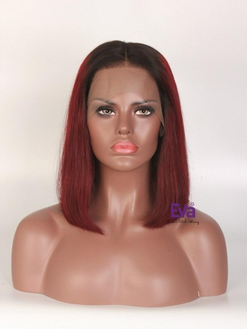 "14"" 150% CUSTOMIZED COLOR SILKY STRAIGHT 4"" LACE FRONT WIG"