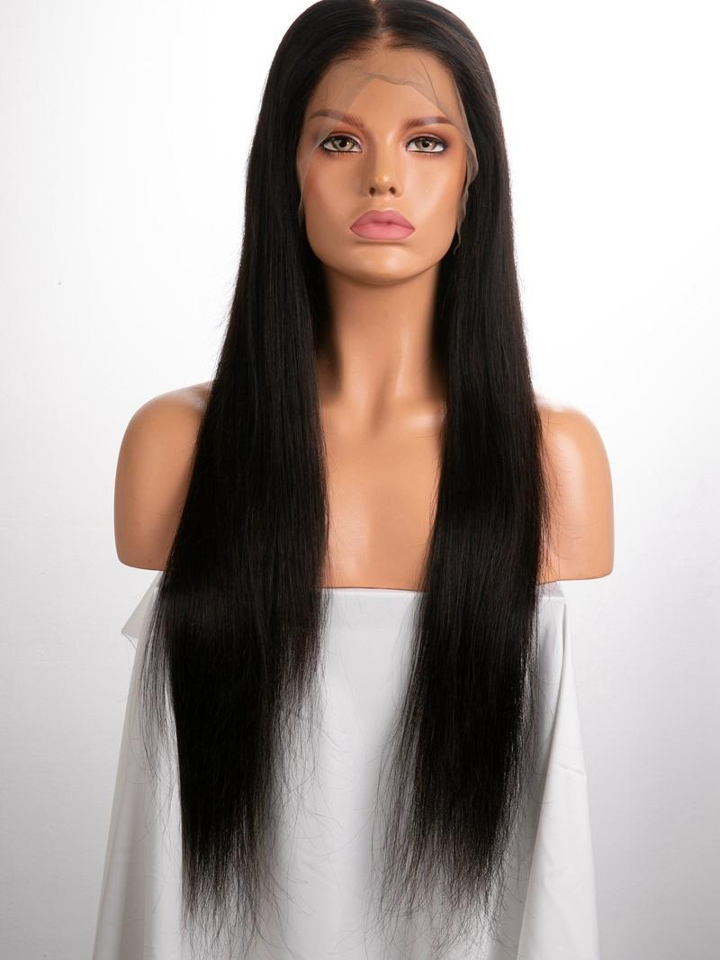 """24"""" 250% Natural Black Silky Straight Human Hair 6"""" Lace Front Wig With Fake Scalp"""