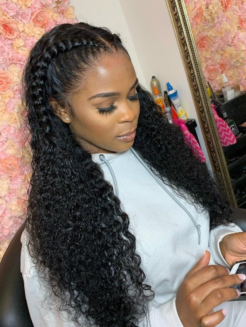 """10""""-24""""  HD LACE VIRGIN HUMAN HAIR LONG CURLY 6"""" LACE FRONT WIG"""