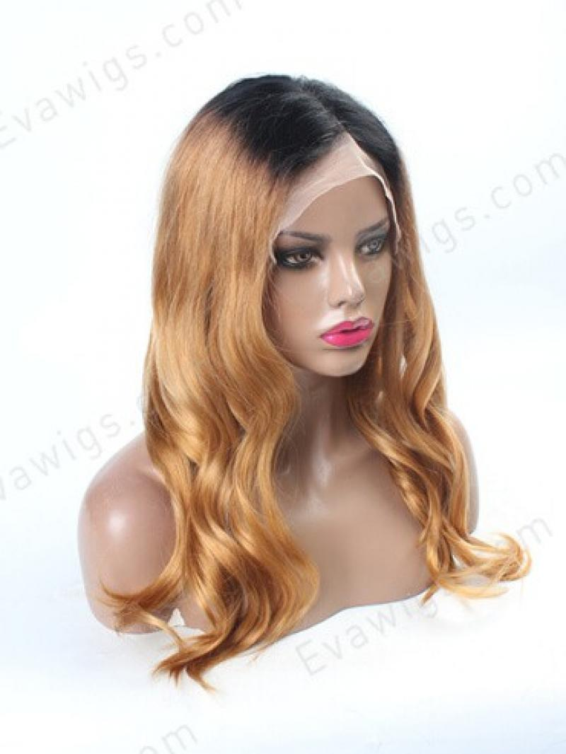 20inches Gorgeous Ombre Blonde Wavy Full Lace Virgin Human Hair Wig - sk-e-4583