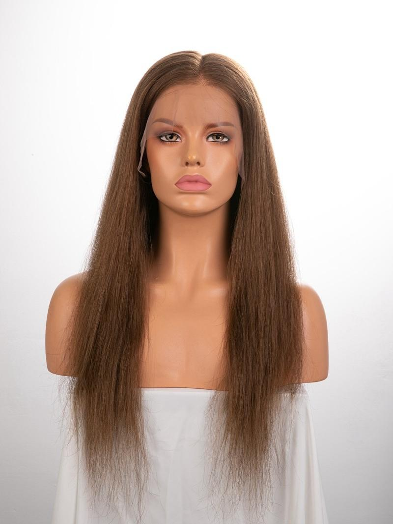 "18"" 130% Chestnut Brown Silky Straight Human Hair 4"" Lace Front Wig"