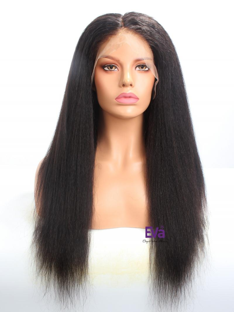 "20"" 180% Density Kinky Straight Fake Scalp Wig With 6"" Deep Parting"