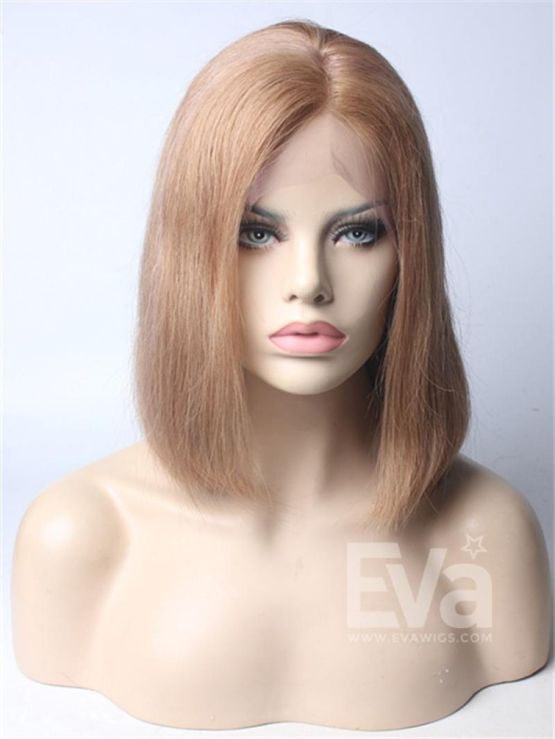 "14"" Blonde Bob Cut with Side Part Virgin Hair Full Lace Wig"