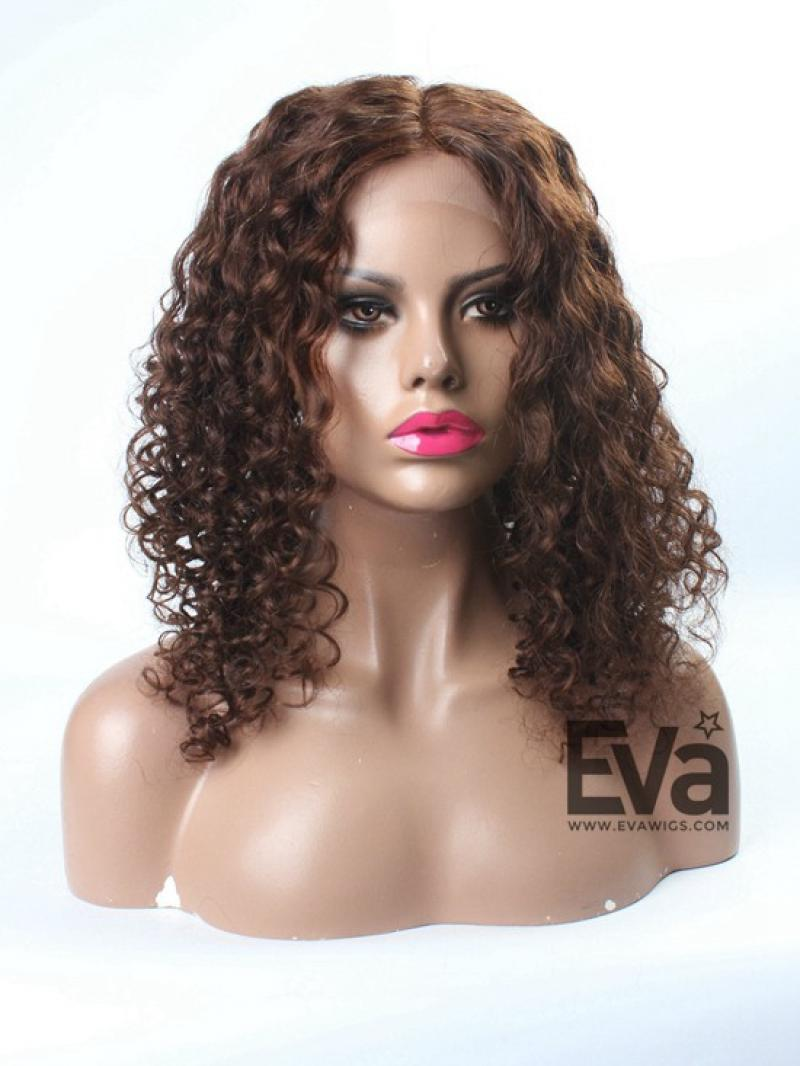 Brown Color 100% Indian Virgin Human Hair Full Lace Curly Wig