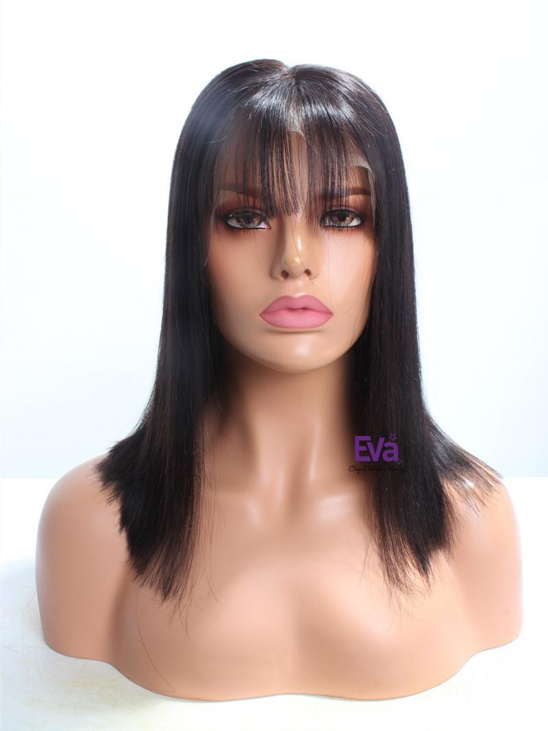 "16"" Cute Straight Bob with Bangs 4"" Parting Lace Front Wig"