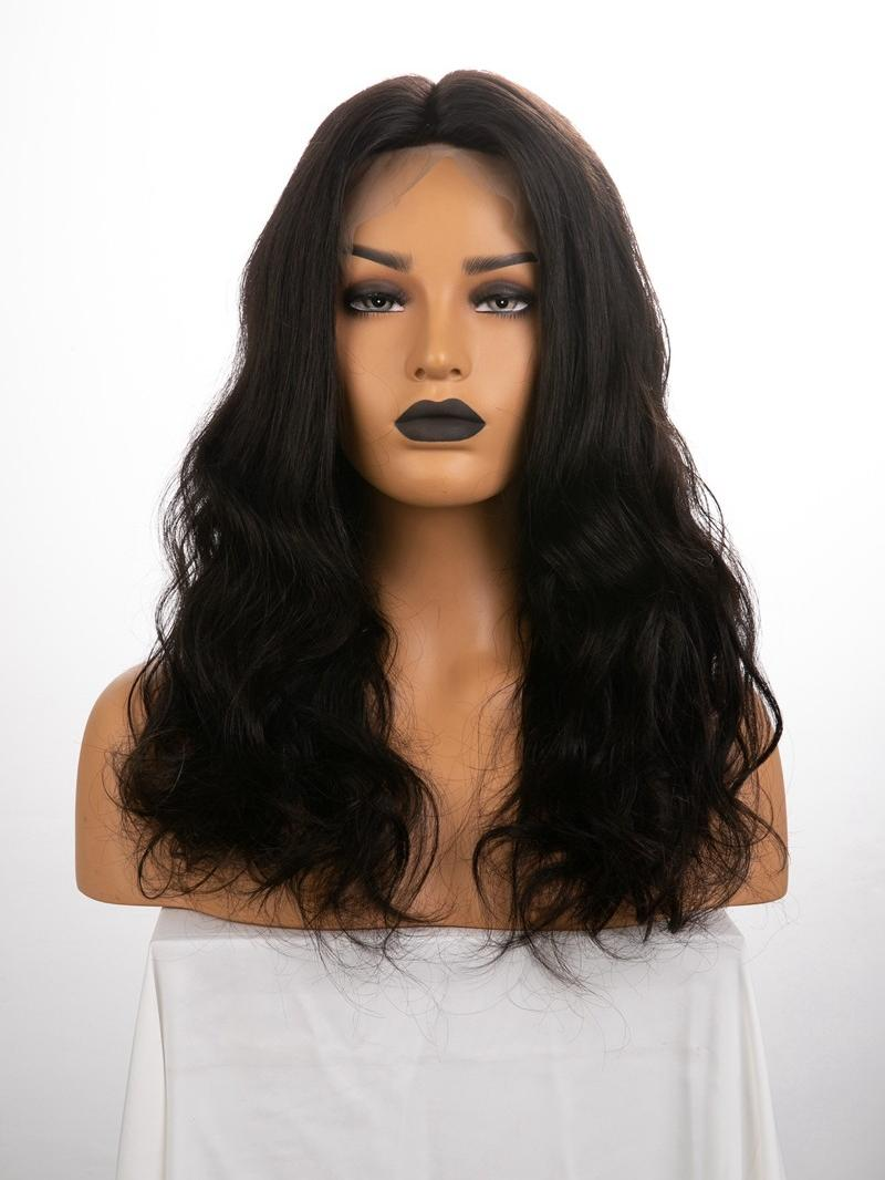 "18"" 180% Natural Black Wavy Silk Top Human Hair Full Lace Wig With Petite Size"