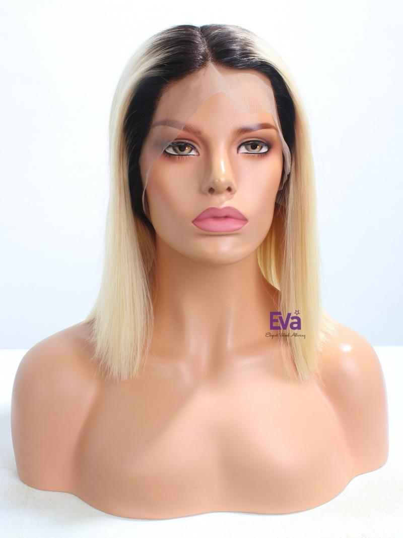 "12"" Blonde Ombre Summer Bob Virgin Human Hair Full Lace Wig"