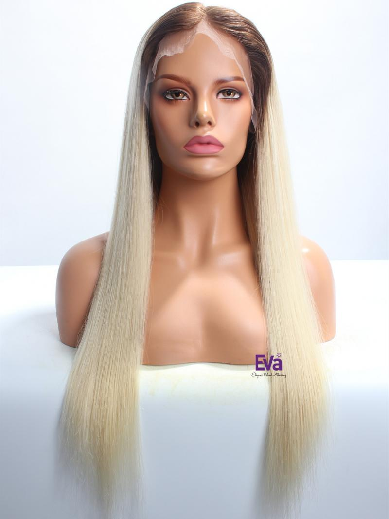 "22"" Custom Color Soft Straight Lace Front Human Hair Wig"