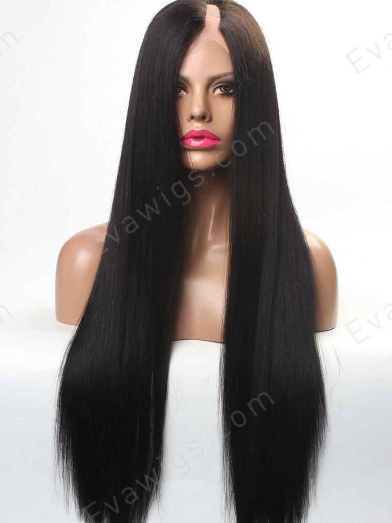 U-PART - Custom Long Straight Silky Yaki U-part Full Lace Human Hair ... 0cf9093d5