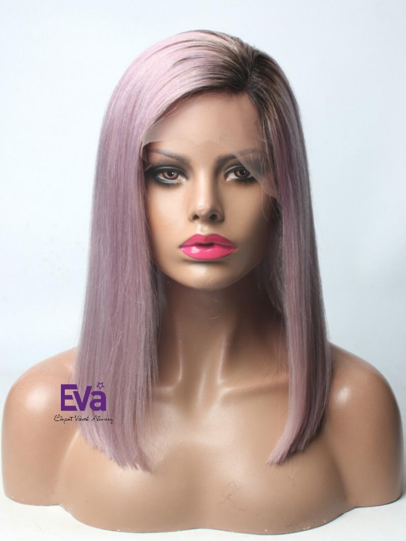 Grayish Purple Virgin Human Hair Lace Front Wig with Dark Root