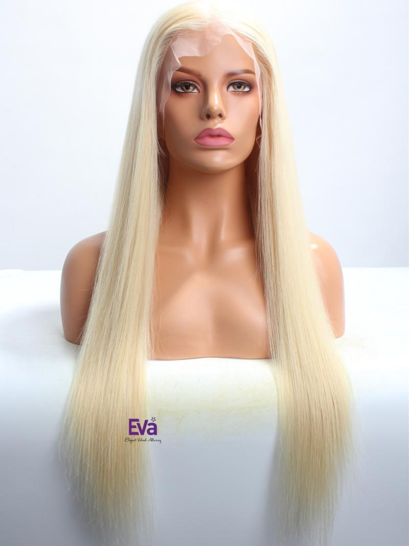 """22"""" 180% Heavy Density Blonde Virgin Hair 6"""" Parting Lace Front Wig"""