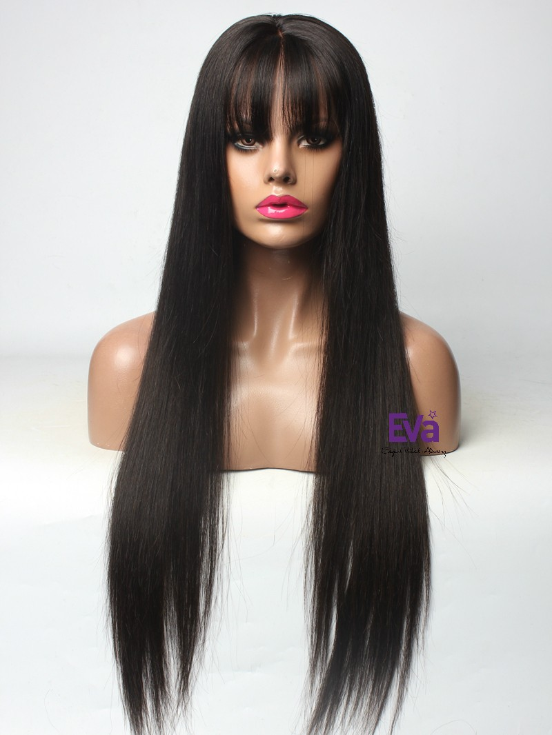 See-through Bangs Silk Straight Lace Front Human Hair Wig In Stock 18