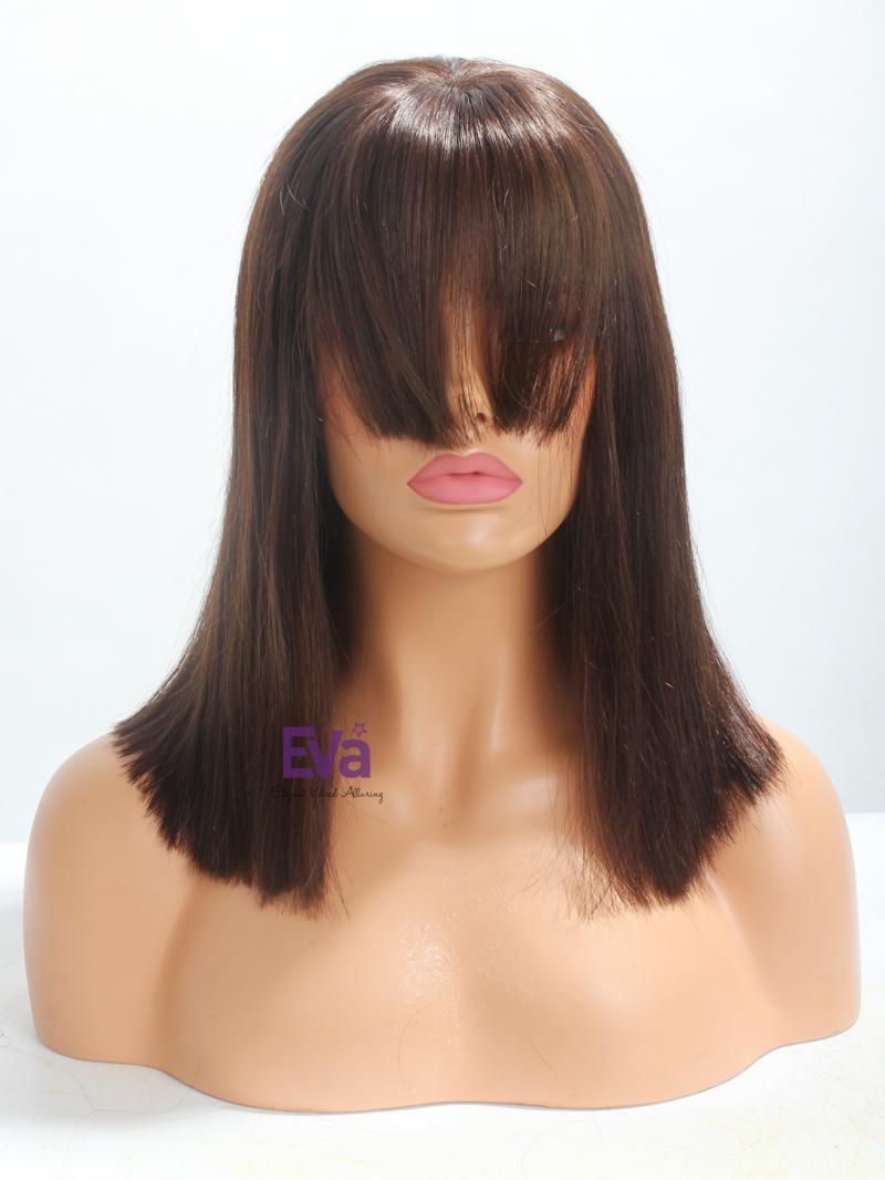 "14"" Darkest Brown Straight Bob Cut with Bangs Full Lace Wig"