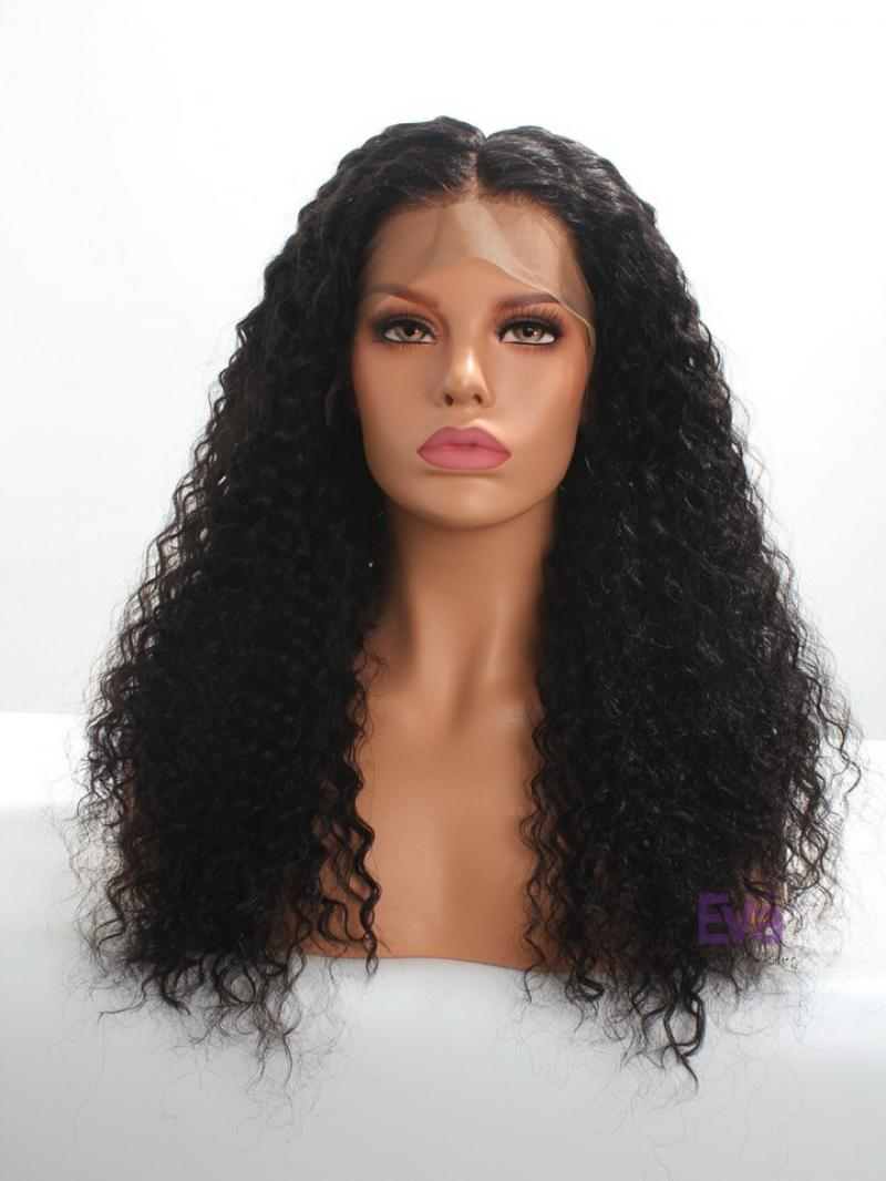 "18"" - 26"" Available Type 3 Hair Natural Curly Human Hair Wig with 6"" Deep Parting Lace Front Cap"