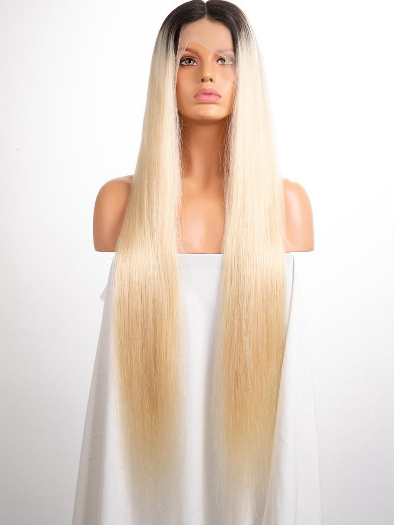 "30"" 180% Custom Color Silky Straight Human Hair Silk Top Full Lace Wig WIth Custom Size"