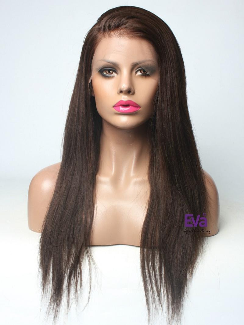 Ready to Ship Brown Human Hair Lace Front Yaki Straight Wig
