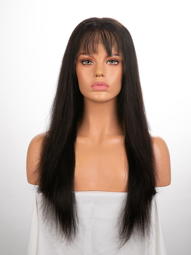 "18"" 150% Natural Black Silky Straight Human Hair 4"" Lace Front Wig"