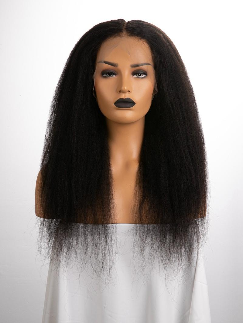 """20"""" 130% Natural Black Kinky Straight Human Hair 6"""" Lace Front Wig With Fake Scalp"""