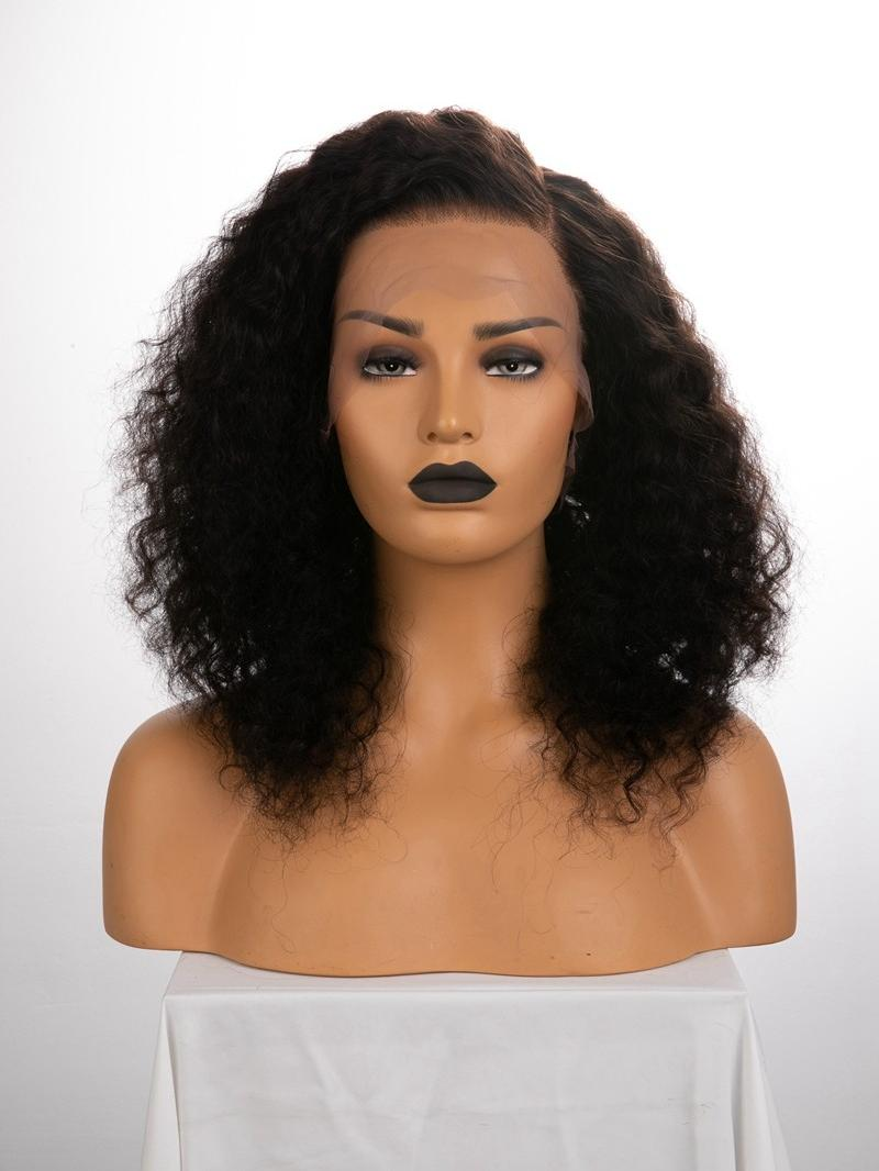 "16"" 180% Natural Black Curly Human Hair Full Lace Wig"