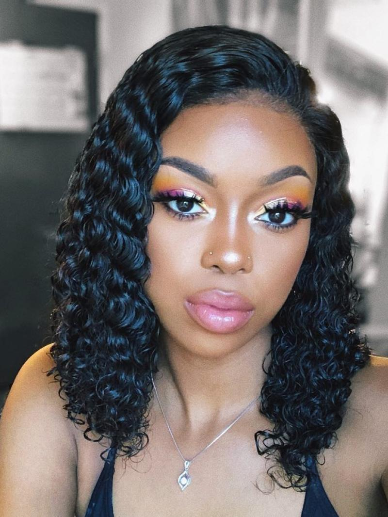 "10""-16"" HD LACE VIRGIN HUMAN HAIR LONG CURLY 6"" LACE FRONT WIG"