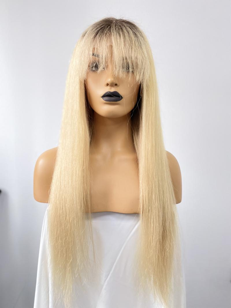 NEW IN 16'-22' BLONDE COLOR WITH BANGS T CAP CONSTRUCTION WIG