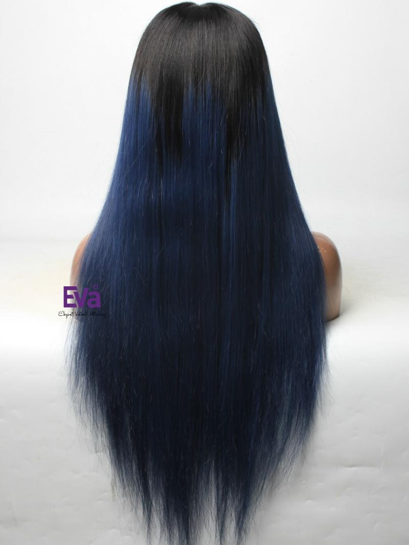 Midnight Blue Full Lace Virgin Human Hair Wig With Black