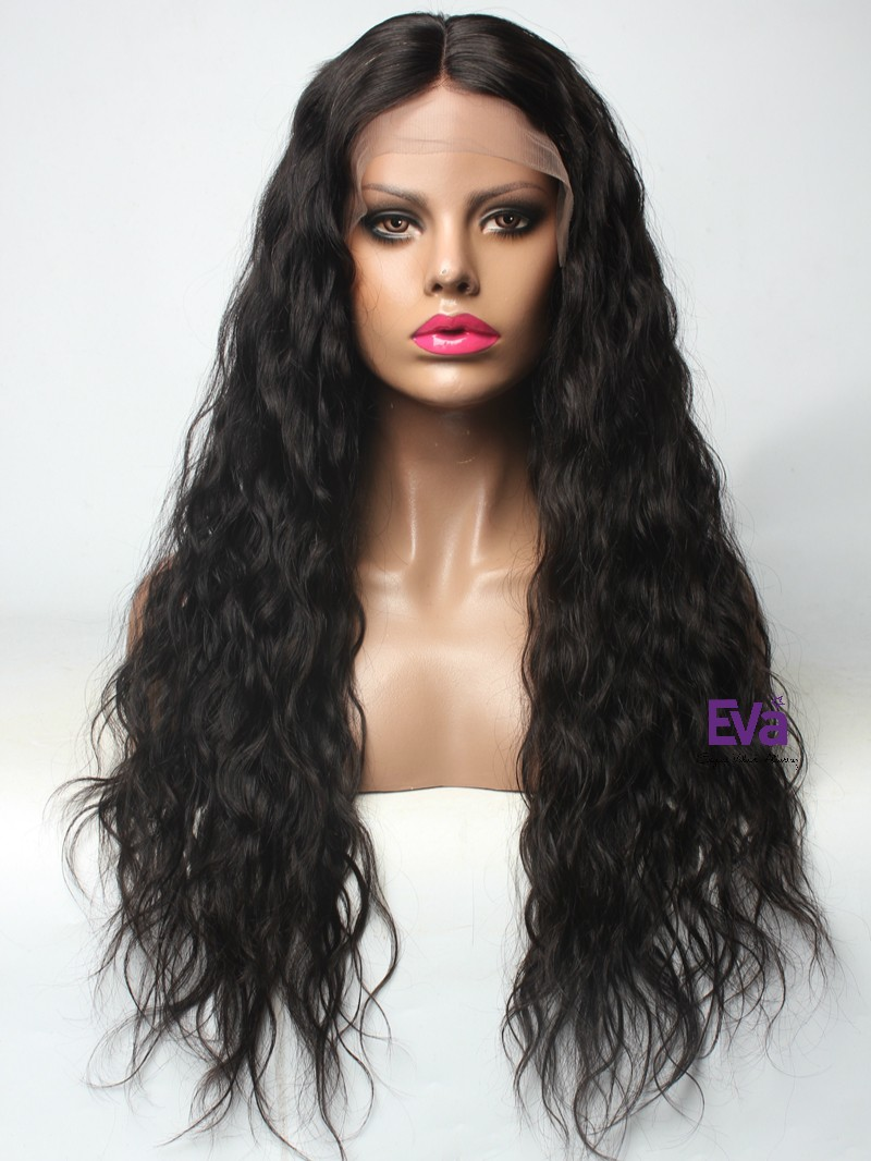 "Natural Black Loose Wave 4"" Parting Lace Front Human Hair Wig"