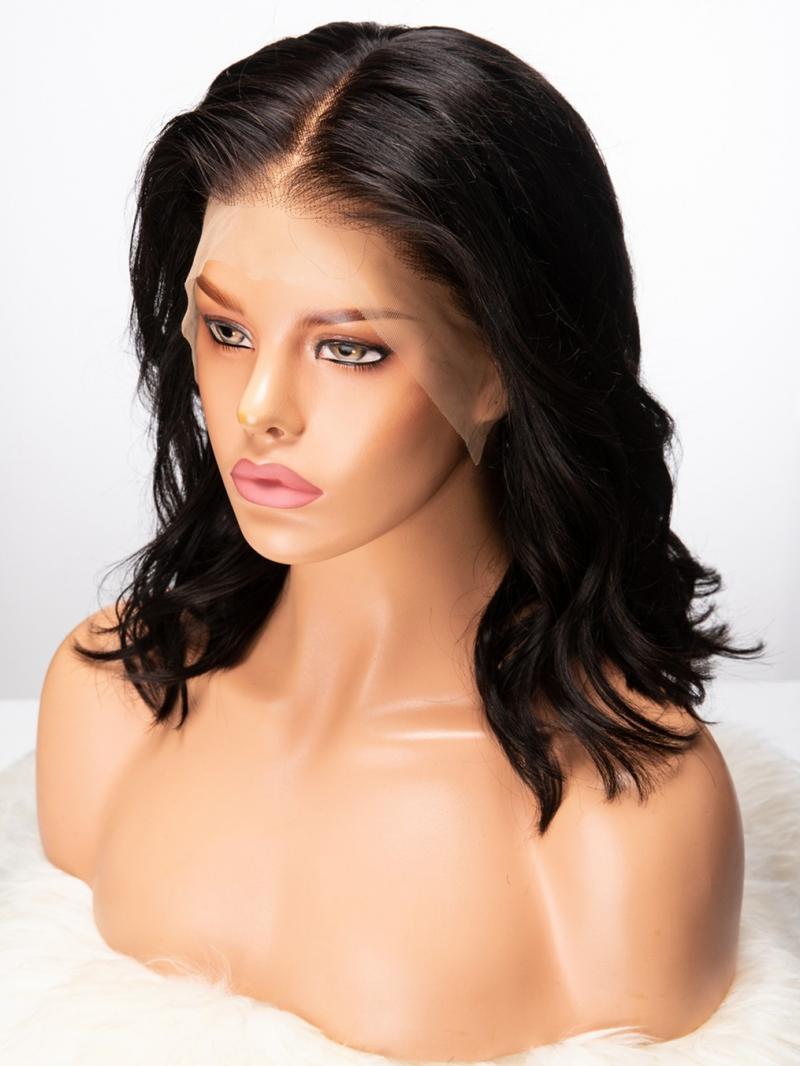 Stock New Full Lace Human Hair Wig in Wavy Bob Cut